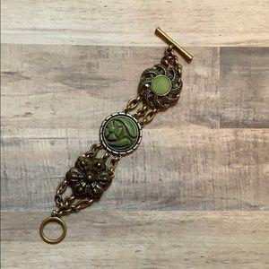 Antique Lucky Brand Green Medallion Bracelet